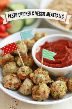 Pesto Chicken Veggie Meatballs from Super Healthy Kids!
