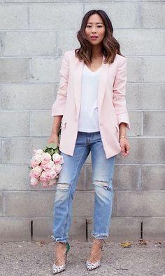 Look Rose Quartz: Blazer + Jeans