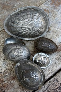 Vintage Easter chocolate egg molds.  Pretty cool!
