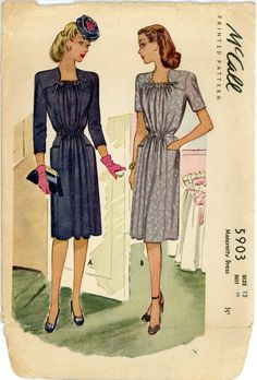 McCall 5903 Misses 1940s Dress Pattern Day or Evening Maternity Dress Drawstring Waistline Womens Vintage Sewing Pattern Bust 30. $44.00, via Etsy.