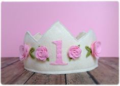 Felt Princess 1st First Birthday Crown in Ivory with Pink Roses, Photo Prop, Dress Up Play on Etsy, $20.00