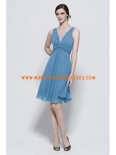 Elegant V-neck Pleated Blue Chiffon Flowing Beach Bridesmaid Dresses 2013