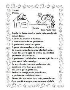 Resultado de imagem para poema sobre escola