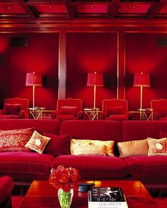 Red is a color rarely seen in homes, but if done right, the payoff is great. If you dare, try vamping your media room with red walls or using an oxblood shade in your bedroom. Don't be afraid to commit — going all out will instantly create a cozy, Red Interior Design, Interior Decorating, Room Interior, Decorating Ideas, Decor Ideas, Room Ideas, Red Interiors, Colorful Interiors, Elle Decor