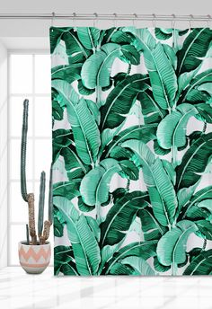 + One piece window curtain with the famous martinique banana leaf pattern dipped in a mint color. Trendy boho home interior must-have! by jungle trends
