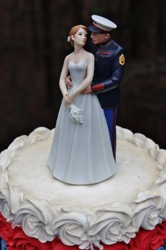 Military Marine Corps USMC wedding cake topper~ur hair /flower colors Classic