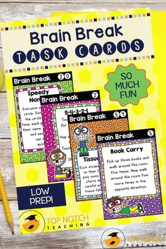 We know the importance of brain breaks to help students focus and learn. Don't waste time looking for fun and effective brain break activities. Just use these printable Brain Break Cards and fill your teacher bag of tricks with brain breaks your students will love. These 60 brain break activities were designed to help students take a short mental break, regain focus, and re-energize to get them back on track for learning. The perfect addition to any classroom management system! Teaching 5th Grade, 3rd Grade Classroom, Primary Classroom, Teaching Kindergarten, Teaching Reading, Learning, Comprehension Strategies, Teaching Strategies, Teaching Tips
