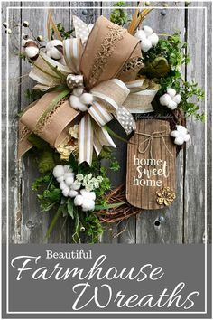 Love these beautiful rustic farmhouse wreaths. Perfect for the front door or indoor decor. year around. #wreath #rustic #farmhouse #afflink