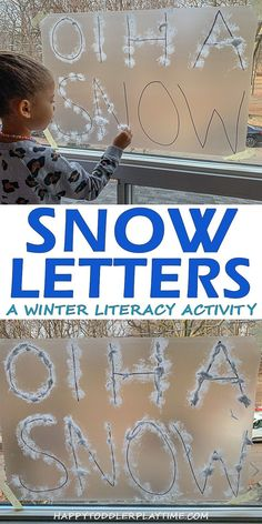 Snow Letters – HAPPY TODDLER PLAYTIME This is a fun and easy winter literacy activity that is perfect for preschoolers and kindergartners. Create snow letters on a sticky wall!