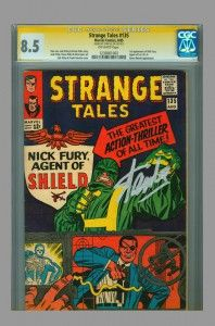 CGC SS 8.5 Strange Tales #135 (first appearance of Nick Fury, Agent of S.H.I.E.L.D. signed by Stan Lee - on www.vaultcollectibles.com. #stanlee #agentsofshield #cgcss #marvelcomics #vaultcollectibles.com