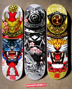 """""""Kabuto Panther"""", """"Samurai Dragon"""", and """"Kabuto Tiger"""", all on 8.5 boards, are today's BoardPusher.com Featured Decks. They were designed by Singaporean tattoo artist Elvin Yong. For more of Elvin's print work check out www.nuvango.com/elvinyong."""