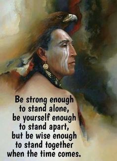 Be strong enough to stand alone ; be yourself enough to stand apart but wise enough to stand together when the time comes. Native American Prayers, Native American Spirituality, Native American Wisdom, Native American Pictures, Native American History, American Indians, Wisdom Quotes, Life Quotes, Spiritual Quotes