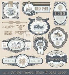 Stickers estampe, conditionnement, banne - vector set de vintage framed labels et la décoration la page dans l'offre de Pixers. Le produit est fait sur la base des photos artistiques, il est fait aussi de formidables matériaux.