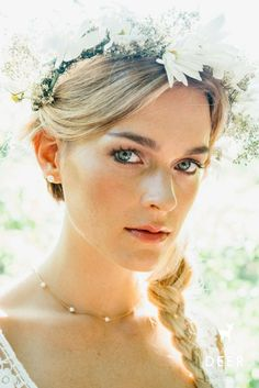 Flower crowns and dainty jewelry, our favorite wedding day combo. Pearl Necklace Wedding, Flower Crowns, Dainty Jewelry, Gold Filled Chain, Initial Necklace, Sterling Silver Chains, Wedding Day, Pearls, Bride