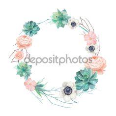 Guirnalda de plantas suculentas y flores acuarela - Ilustración de stock: 69209275