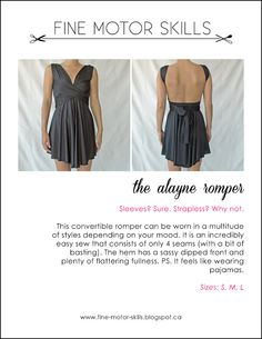 Convertible Romper Dress Sewing Pattern by Fine Motor Skills. Sewing Patterns Free, Clothing Patterns, Free Pattern, Free Sewing, Sewing Tips, Sewing Ideas, Sewing Projects, Diy Projects, Swimsuit Pattern
