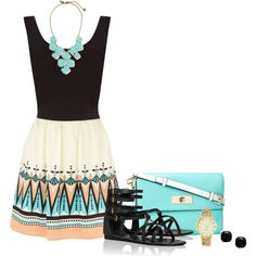 Aztec Dress by corvettegal99 on Polyvore featuring Oasis, Tory Burch and Kate Spade