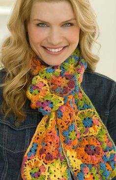 Multi Motif Scarf Free Crochet Pattern from Red Heart Yarns