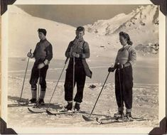Getting read to hit the slopes in great 1940s wool sweaters and ski pants.