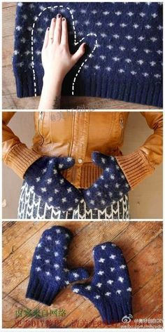 Recycle old sweaters by making easy mittens.
