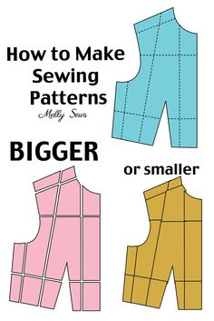 How to Make a Sewing Pattern Bigger (or smaller) – Pattern Grading – Melly Sews Comment agrandir ou diminuer un patron de couture – Tutoriel de gradation de patron – Melly Sews Dress Sewing Patterns, Sewing Patterns Free, Free Sewing, Clothing Patterns, Pattern Sewing, Sewing By Hand, Easy Scarf Knitting Patterns, Sewing Paterns, Style Patterns