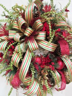 XXL Shiny Gold Red and Green Christmas Door by LadybugWreaths, $299.97