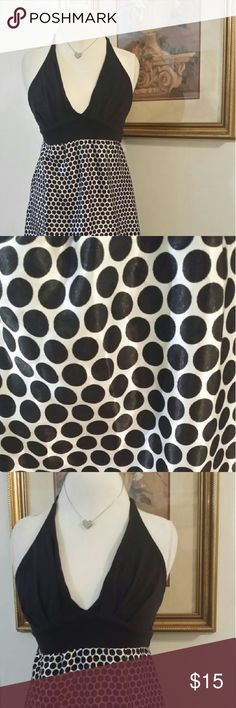 Super long summer beauty! Long black and white dotted summer dress. 17 inches across from each armpit and 54 inches long measuring from top of shoulder to the bottom of dress. Dresses Maxi