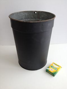 Vintage metal sap bucket with chalkboard by BlueWillowAtelier