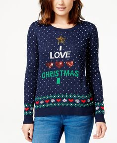 Almost Famous Juniors' Sequin Holiday Pullover Sweater