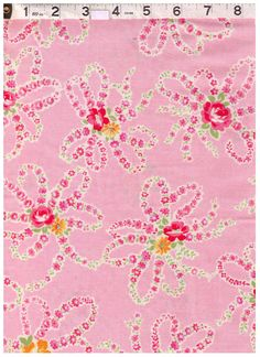 HALF YARD Yuwa - Flower Bows on PINK - Daisies and Roses - Atsuko Matsuyama 30s collection - Perfect tiny Zakka by fabricsupply on Etsy