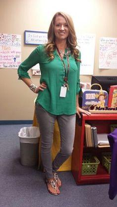 I like these gray pants. So versatile www.ClotheMeInRob.... teacher style.
