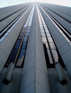 Aon Center, Chicago. Designed by architect firms Edward Durell Stone and The Perkins and Will partnership, and completed in 1974. as the Standard Oil Building.