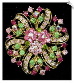 Vintage Style Brooch Accented with Pink and Green Rhinestones $20 @ www.whimzgirlbrooches.com