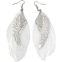White Feather Angel Wing Dangle Earrings ($3.06) ❤ liked on Polyvore featuring jewelry, earrings, earring jewelry, feather earrings, white earrings, feather jewelry and white jewelry