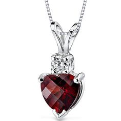 Peora 14 Karat White Gold Heart Shape 1.50 Carats Garnet Diamond Pendant