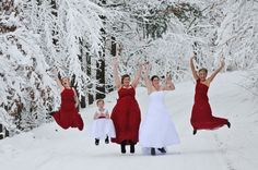 Winter wedding party at the Double JJ Resort