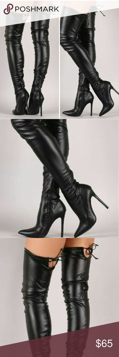 Sexy Over the knee PU Black Leather Boots A Best Seller Cant go wrong with this sexy, sensual beautiful boots. starlight footwear Shoes Over the Knee Boots