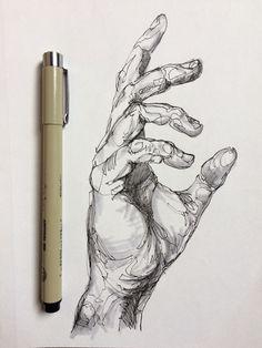 Pings Micron + Minimal blocking with grey brush pen – Art Sketches Pencil Art Drawings, Art Drawings Sketches, Sketch Drawing, Drawings Of Hands, Sharpie Drawings, Hand Drawings, Pen Sketch, Girl Sketch, Abstract Drawings