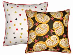 New cushions are such an easy way to give your room a fresh look, and we've used a different fabric on each side of ours, so you can play with colours and combinations. This one combines cheery Polka Dot, with Pomegranate, one of our classic spongeware patterns, in a dramatic red and black colourway. http://www.emmabridgewater.co.uk/invt/1pom021690 #EmmaBridgewater #Sanderson #Cushions