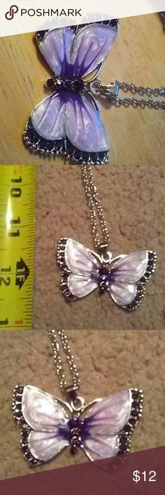 vintage women's jewelry enamel butterfly crystal super cute adjustable lengths on the chain, I tried to get that in the picture. new in original baggie. ? Jewelry Necklaces