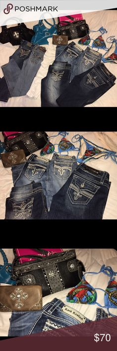 😍Rocks/Vigoss/Ed Hardy/Montana West/💎 trade/sell HUGE LOT OF ROCK REVIVAL-mostly 27s, one 28.... Jessica Simpson white stretch jeans size 30 skinny ... Cello size 7 destroyed white stretch jeans, Montana West Purse & Bling Fleur De Liss purse are NWT... Vigoss Capri with big bling pocket size 9/10... ed hardy bling bathing suit size M -NWOT... open to. Bundle deals with 💰 cash or trade or both... also combine with other closet items.. also have some affliction tees not posted yet for sale…