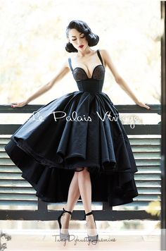 Retro Dress-black-Tuxedo Dress-Ball Gown-Vintage prom dress-Custom made - Plus…