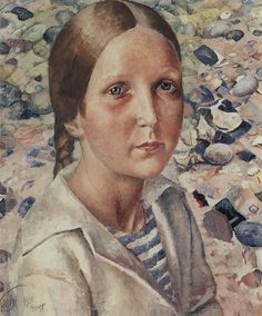 Kuzma Petrov-Vodkin: Girl on the Beach. 1925. State Russian Museum, St. Petersburg. Russia.