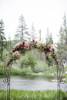 Hydrangeas on Wrought-Iron Wedding Arch
