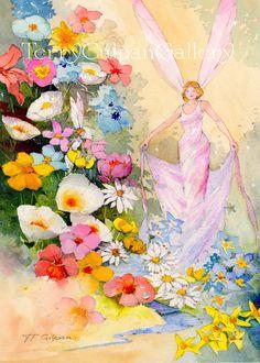 A3 Fairy Watercolour Flora Flowers Pinks Blues Yellows White Oranges Blues…