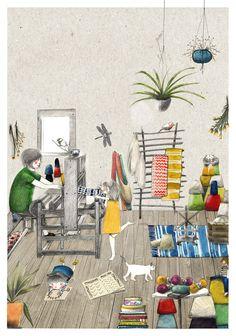 Il·lustració pel taller de l'artesana Lina Ratia. Akarona Taller Tèxtil per Vanesa Freixa   Illustration for the weaver Lina Ratia by Vanesa Freixa #illustration #ilustración #lapis #dibujo #draw #collage #weaver #handcraft #vanesafreixa