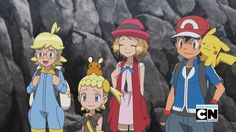 Clemont, Dedenne, Bonnie, Serena, Ash Ketchum & Pikachu
