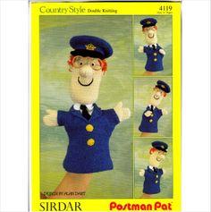 4119 Sirdar Knitting Pattern - Postman Pat Glove Puppet by Alan Dart DK Glove Puppets, Hand Puppets, Finger Puppets, Crocheted Toys, Knitted Dolls, Knit Crochet, Sirdar Knitting Patterns, Knit Patterns, Postman Pat