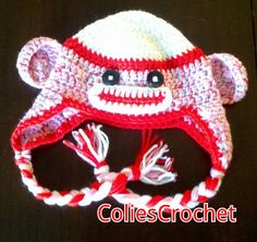 Sock Monkey Earflap Hat in Child Teen/Small Adult by ColiesCrochet, $19.95