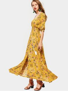 Belted Slit Button Up Floral Maxi Dress - YELLOW M